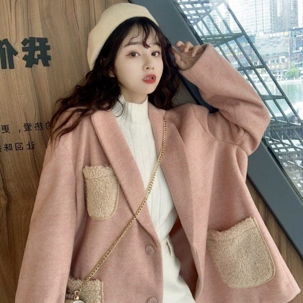 Warm Oversized Wool Pockets Jacket 4 - My Sweet Outfit - EGirl Outfits - Soft Girl Clothes Aesthetic - Grunge Korean Fashion Tumblr Hip Emo Rap