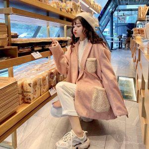 Warm Oversized Wool Pockets Jacket (5) - My Sweet Outfit - EGirl Outfits - Soft Girl Clothes Aesthetic - Grunge Korean Fashion Tumblr Hip Emo Rap