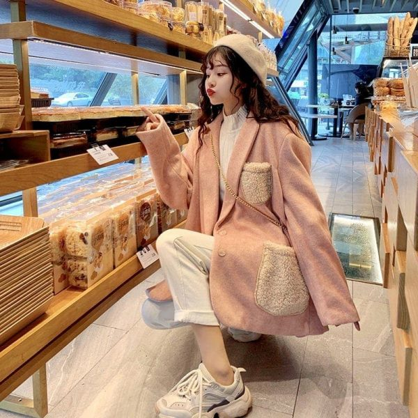 Warm Oversized Wool Pockets Jacket 5 - My Sweet Outfit - EGirl Outfits - Soft Girl Clothes Aesthetic - Grunge Korean Fashion Tumblr Hip Emo Rap