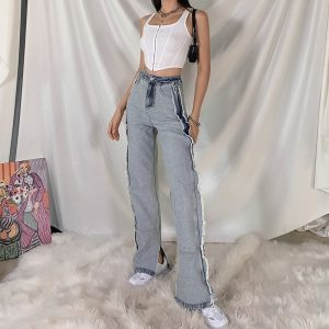 Washed Frayed Split Wide Leg Jeans 1 - My Sweet Outfit - EGirl Outfits - Soft Girl Clothes Aesthetic - Grunge Korean Fashion Tumblr Hip Emo Rap Trap