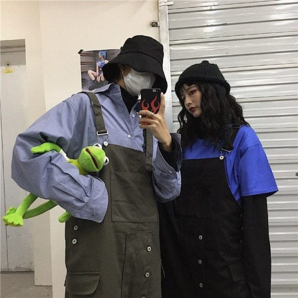 Wide Multi Pocket Overalls Jumpsuit 1 - My Sweet Outfit - EGirl Outfits - Soft Girl Clothes Aesthetic - Grunge Korean Fashion Tumblr Hip Emo Rap