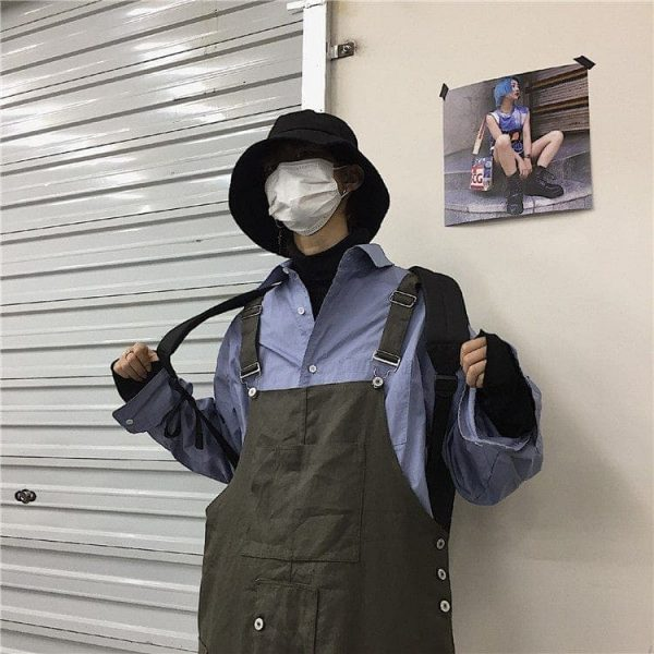 Wide Multi Pocket Overalls Jumpsuit 2 - My Sweet Outfit - EGirl Outfits - Soft Girl Clothes Aesthetic - Grunge Korean Fashion Tumblr Hip Emo Rap