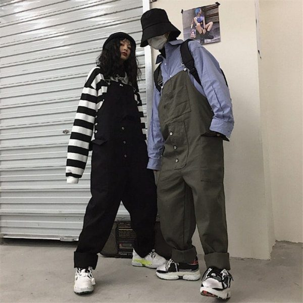 Wide Multi Pocket Overalls Jumpsuit 3 - My Sweet Outfit - EGirl Outfits - Soft Girl Clothes Aesthetic - Grunge Korean Fashion Tumblr Hip Emo Rap