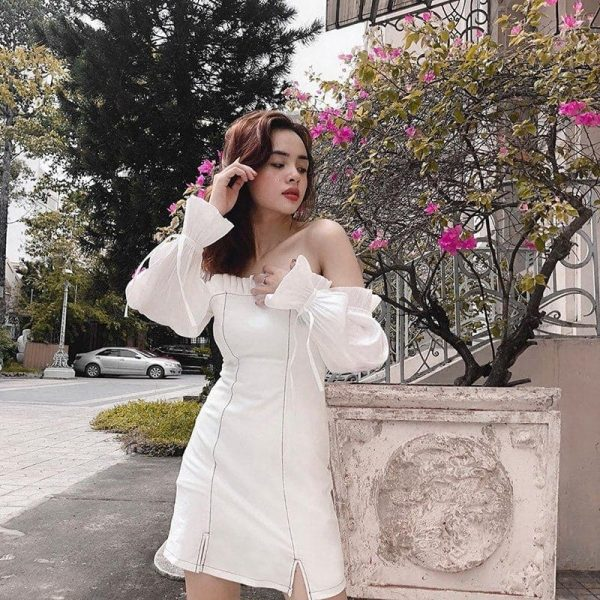 Wide Sleeve Off Shoulder Stitching Dress (3) - My Sweet Outfit - EGirl Outfits - Soft Girl Clothes Aesthetic - Grunge Korean Fashion Tumblr Hip Emo Rap