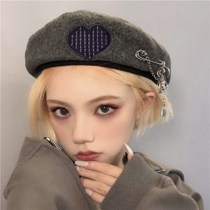 Сotton Warm Beret With Embroidery (1) - My Sweet Outfit - EGirl Outfits - Soft Girl Clothes Aesthetic - Grunge Korean Fashion Tumblr Hip Emo Rap