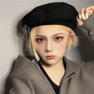 Сotton Warm Beret With Embroidery (3) - My Sweet Outfit - EGirl Outfits - Soft Girl Clothes Aesthetic - Grunge Korean Fashion Tumblr Hip Emo Rap