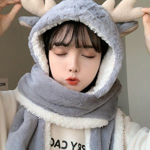 Сute And Warm Hat-Hood Deer (2) - My Sweet Outfit - EGirl Outfits - Soft Girl Clothes Aesthetic - Grunge Korean Fashion Tumblr Hip Emo Rap