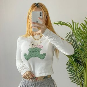 Basic Top With Image Of A Bear And Candy (3) - My Sweet Outfit - EGirl Outfits - Soft Girl Clothes Aesthetic - Grunge Korean Fashion Tumblr Hip Emo Rap