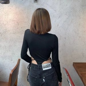 Black Slimming Strappy Bodysuit (1) - My Sweet Outfit - EGirl Outfits - Soft Girl Clothes Aesthetic - Grunge Korean Fashion Tumblr Hip Emo Rap