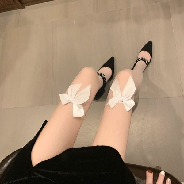 Bow Soft Over Knee Stockings 1 - My Sweet Outfit - EGirl Outfits - Soft Girl Clothes Aesthetic - Grunge Korean Fashion Tumblr Hip Emo Rap