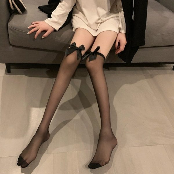 Bow Soft Over Knee Stockings 2 - My Sweet Outfit - EGirl Outfits - Soft Girl Clothes Aesthetic - Grunge Korean Fashion Tumblr Hip Emo Rap
