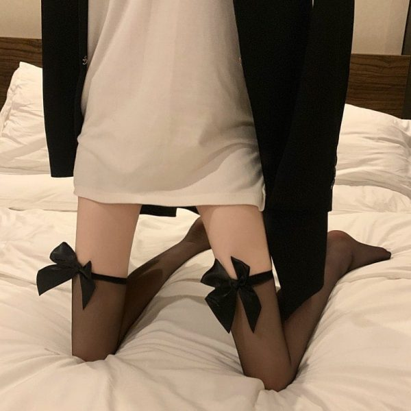 Bow Soft Over Knee Stockings 3 - My Sweet Outfit - EGirl Outfits - Soft Girl Clothes Aesthetic - Grunge Korean Fashion Tumblr Hip Emo Rap