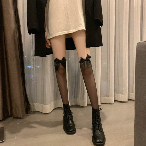 Bow Soft Over Knee Stockings 5 - My Sweet Outfit - EGirl Outfits - Soft Girl Clothes Aesthetic - Grunge Korean Fashion Tumblr Hip Emo Rap
