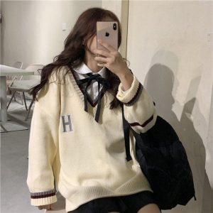 College V-neck Loose Sweater (1) - My Sweet Outfit - EGirl Outfits - Soft Girl Clothes Aesthetic - Grunge Korean Fashion Tumblr Hip Emo Rap