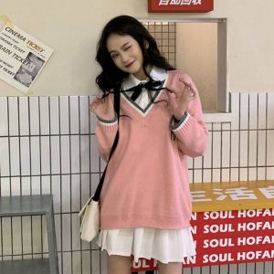 College V-neck Loose Sweater (3) - My Sweet Outfit - EGirl Outfits - Soft Girl Clothes Aesthetic - Grunge Korean Fashion Tumblr Hip Emo Rap