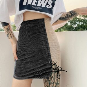 Contrast Color Laces Skirt (4) - My Sweet Outfit - EGirl Outfits - Soft Girl Clothes Aesthetic - Grunge Korean Fashion Tumblr Hip Emo Rap