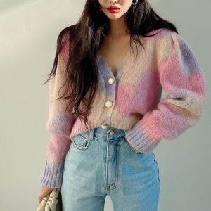 Delicate Large Multi Colored Cardigan (1) - My Sweet Outfit - EGirl Outfits - Soft Girl Clothes Aesthetic - Grunge Korean Fashion Tumblr Hip Emo Rap