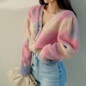 Delicate Large Multi Colored Cardigan (2) - My Sweet Outfit - EGirl Outfits - Soft Girl Clothes Aesthetic - Grunge Korean Fashion Tumblr Hip Emo Rap