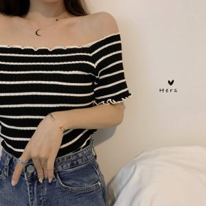 Delicate Striped Off-Shoulder Top (2) - My Sweet Outfit - EGirl Outfits - Soft Girl Clothes Aesthetic - Grunge Korean Fashion Tumblr Hip Emo Rap