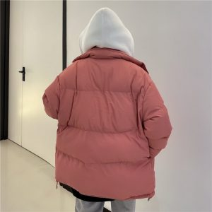 Dense Thick Pink Cotton Jacket (1) - My Sweet Outfit - EGirl Outfits - Soft Girl Clothes Aesthetic - Grunge Korean Fashion Tumblr Hip Emo Rap