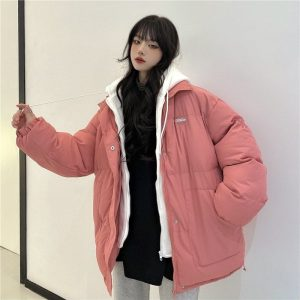 Dense Thick Pink Cotton Jacket (5) - My Sweet Outfit - EGirl Outfits - Soft Girl Clothes Aesthetic - Grunge Korean Fashion Tumblr Hip Emo Rap