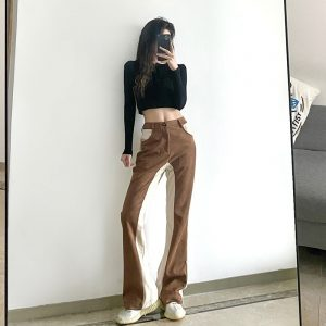 Double-Color Flared Straight Trousers (3) - My Sweet Outfit - EGirl Outfits - Soft Girl Clothes Aesthetic - Grunge Korean Fashion Tumblr Hip Emo Rap