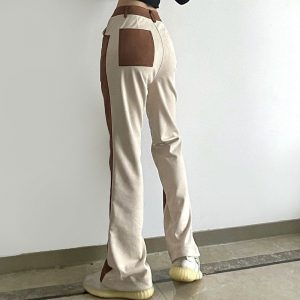 Double-Color Flared Straight Trousers (5) - My Sweet Outfit - EGirl Outfits - Soft Girl Clothes Aesthetic - Grunge Korean Fashion Tumblr Hip Emo Rap