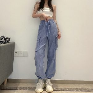 Drawstrings And Pockets Loose Pants (1) - My Sweet Outfit - EGirl Outfits - Soft Girl Clothes Aesthetic - Grunge Korean Fashion Tumblr Hip Emo Rap