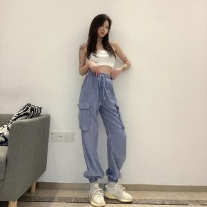 Drawstrings And Pockets Loose Pants (4) - My Sweet Outfit - EGirl Outfits - Soft Girl Clothes Aesthetic - Grunge Korean Fashion Tumblr Hip Emo Rap