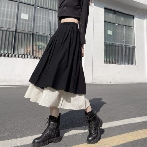 Elastic Pleated Double Vintage Skirt (3) - My Sweet Outfit - EGirl Outfits - Soft Girl Clothes Aesthetic - Grunge Korean Fashion Tumblr Hip Emo Rap