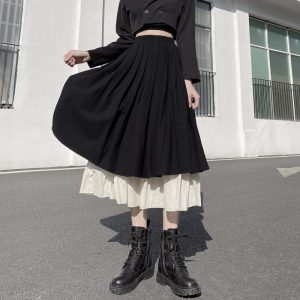 Elastic Pleated Double Vintage Skirt (4) - My Sweet Outfit - EGirl Outfits - Soft Girl Clothes Aesthetic - Grunge Korean Fashion Tumblr Hip Emo Rap
