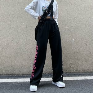 Elasticated Waist Straight Leg Trousers (4) - My Sweet Outfit - EGirl Outfits - Soft Girl Clothes Aesthetic - Grunge Korean Fashion Tumblr Hip Emo Rap