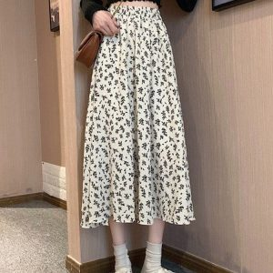 Floral Spring Print Mid-Length Dress (1) - My Sweet Outfit - EGirl Outfits - Soft Girl Clothes Aesthetic - Grunge Korean Fashion Tumblr Hip Emo Rap