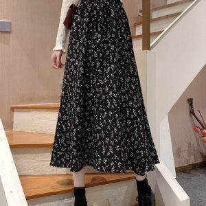 Floral Spring Print Mid-Length Dress (2) - My Sweet Outfit - EGirl Outfits - Soft Girl Clothes Aesthetic - Grunge Korean Fashion Tumblr Hip Emo Rap