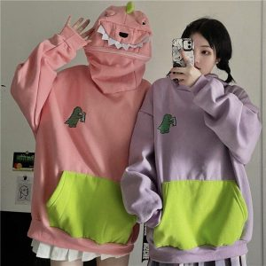 Funny Dinosaur Style And Print Hoodie (4) - My Sweet Outfit - EGirl Outfits - Soft Girl Clothes Aesthetic - Grunge Korean Fashion Tumblr Hip Emo Rap