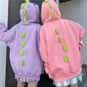 Funny Dinosaur Style And Print Hoodie (5) - My Sweet Outfit - EGirl Outfits - Soft Girl Clothes Aesthetic - Grunge Korean Fashion Tumblr Hip Emo Rap