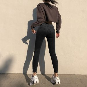 Gradient Dark Skinny Pencil Jeans 1 - My Sweet Outfit - EGirl Outfits - Soft Girl Clothes Aesthetic - Grunge Korean Fashion Tumblr Hip Emo Rap