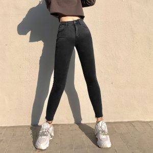 Gradient Dark Skinny Pencil Jeans 4 - My Sweet Outfit - EGirl Outfits - Soft Girl Clothes Aesthetic - Grunge Korean Fashion Tumblr Hip Emo Rap