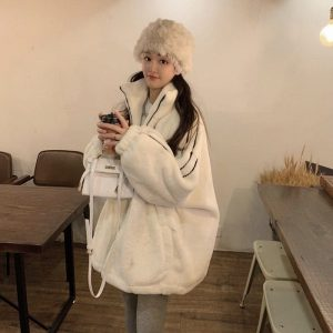 High Collar Zipped Padded Jacket (1) - My Sweet Outfit - EGirl Outfits - Soft Girl Clothes Aesthetic - Grunge Korean Fashion Tumblr Hip Emo Rap