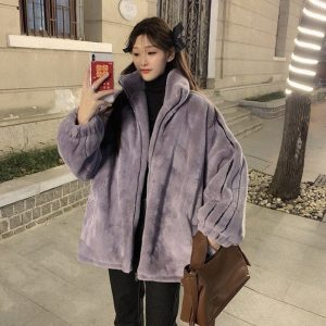 High Collar Zipped Padded Jacket (2) - My Sweet Outfit - EGirl Outfits - Soft Girl Clothes Aesthetic - Grunge Korean Fashion Tumblr Hip Emo Rap