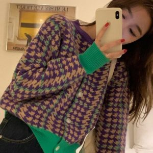 Houndstooth Loose Cardigan Sweater (1) - My Sweet Outfit - EGirl Outfits - Soft Girl Clothes Aesthetic - Grunge Korean Fashion Tumblr Hip Emo Rap