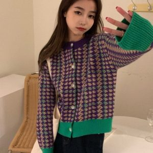 Houndstooth Loose Cardigan Sweater (2) - My Sweet Outfit - EGirl Outfits - Soft Girl Clothes Aesthetic - Grunge Korean Fashion Tumblr Hip Emo Rap