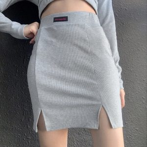 Knitted High Waist Slit Skirt (1) - My Sweet Outfit - EGirl Outfits - Soft Girl Clothes Aesthetic - Grunge Korean Fashion Tumblr Hip Emo Rap