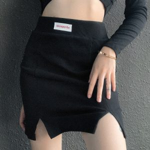 Knitted High Waist Slit Skirt (4) - My Sweet Outfit - EGirl Outfits - Soft Girl Clothes Aesthetic - Grunge Korean Fashion Tumblr Hip Emo Rap