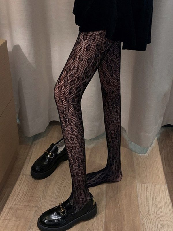 Leopard Print Mesh Fishnet Stockings (2) - My Sweet Outfit - EGirl Outfits - Soft Girl Clothes Aesthetic - Grunge Korean Fashion Tumblr Hip Emo Rap