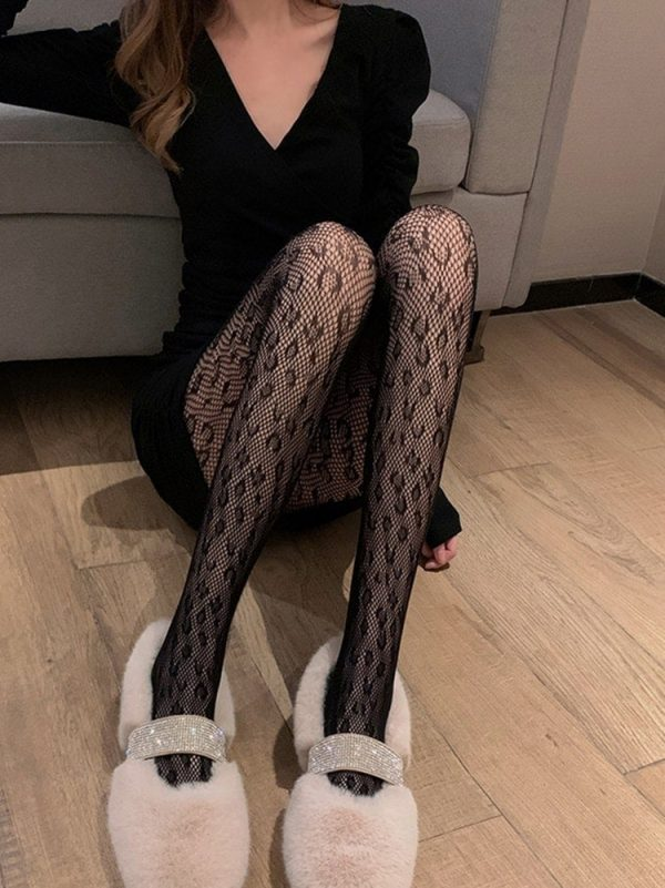 Leopard Print Mesh Fishnet Stockings (3) - My Sweet Outfit - EGirl Outfits - Soft Girl Clothes Aesthetic - Grunge Korean Fashion Tumblr Hip Emo Rap