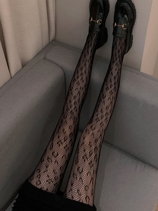 Leopard Print Mesh Fishnet Stockings (4) - My Sweet Outfit - EGirl Outfits - Soft Girl Clothes Aesthetic - Grunge Korean Fashion Tumblr Hip Emo Rap