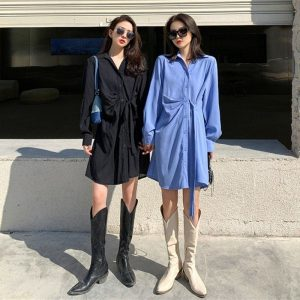 Light Medium Shirt Dress With Buttons (2) - My Sweet Outfit - EGirl Outfits - Soft Girl Clothes Aesthetic - Grunge Korean Fashion Tumblr Hip Emo Rap