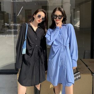 Light Medium Shirt Dress With Buttons (3) - My Sweet Outfit - EGirl Outfits - Soft Girl Clothes Aesthetic - Grunge Korean Fashion Tumblr Hip Emo Rap
