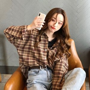 Long Sleeve Mid Plaid Casual Shirt (2) - My Sweet Outfit - EGirl Outfits - Soft Girl Clothes Aesthetic - Grunge Korean Fashion Tumblr Hip Emo Rap